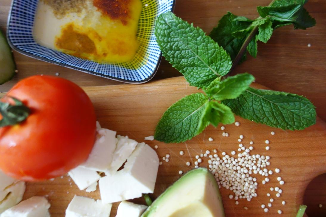 Ingredients Close Up for Quinoa Salad