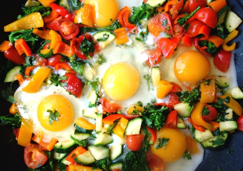Rainbow Breakfast with eggs