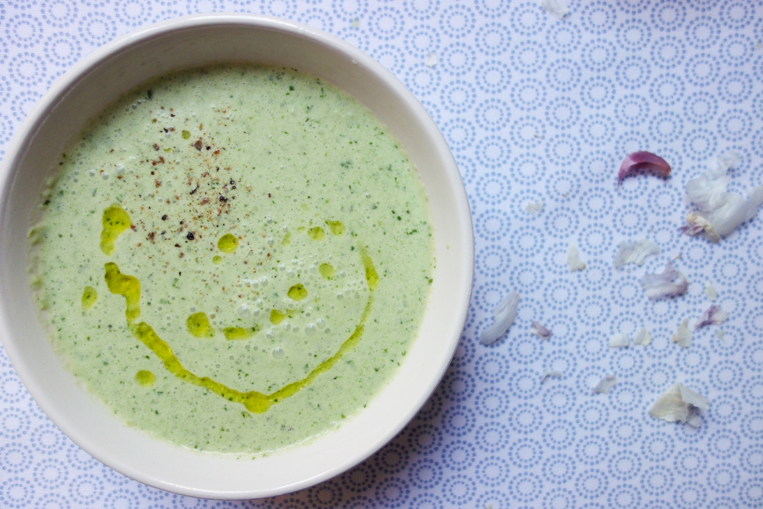 Parsley soup served