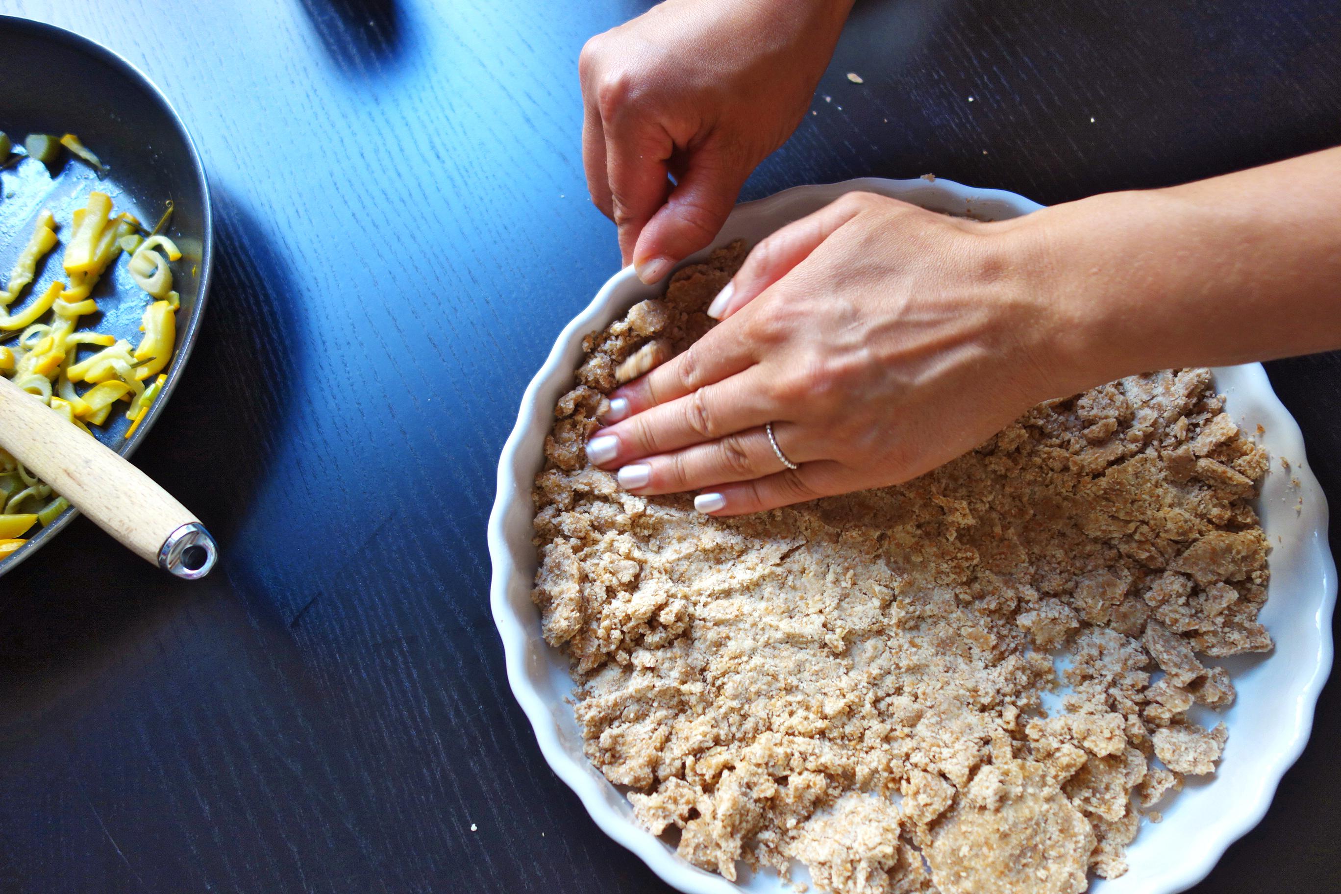Quiche dough in tart tin