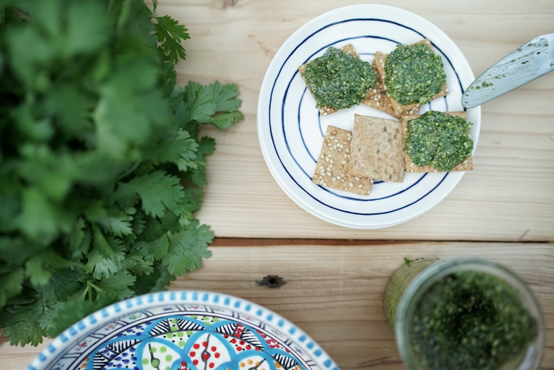 Coriander Pesto on quinoa crackers